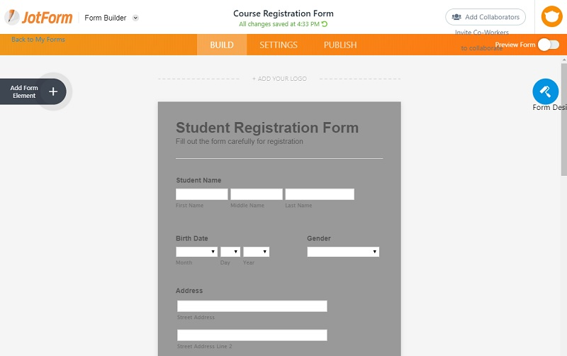 edit the form