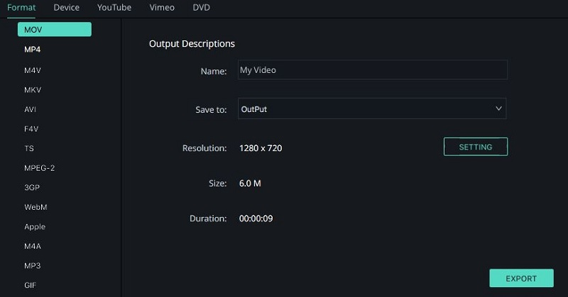 export the video