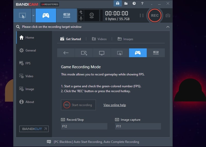 bandicam interface